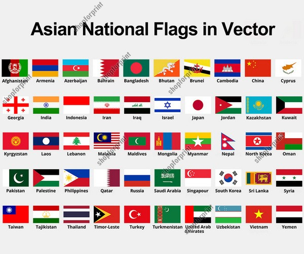 All Asian Country Flags With Names Vector