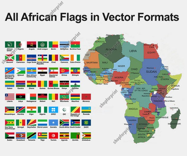 All Flags of African Countries in Vector - 60 Images.