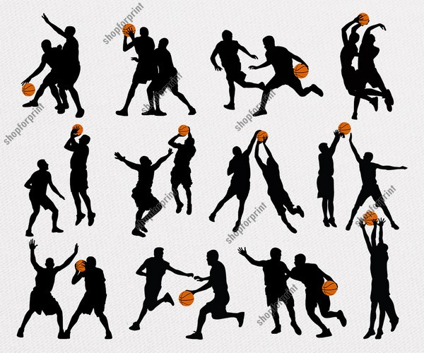 Basketball Silhouette Vector. 12 Several Images.
