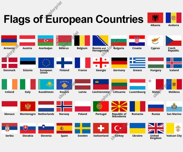 Flags of European Countries with Names in Vector