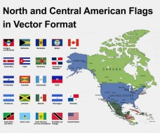 North American Countries Flags
