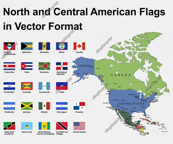 North American Countries Flags Vector