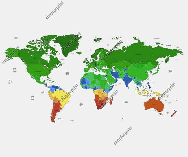World Map in PSD, AI, EPS and SVG Formats with Country Names (Green and Blue Colors)