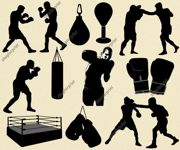 Silhouette Boxing Vector Pack