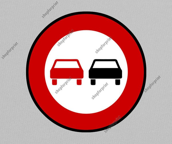 No Overtaking Road Sign Image in Vector