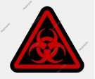 Red Biohazard Symbol. Five Images